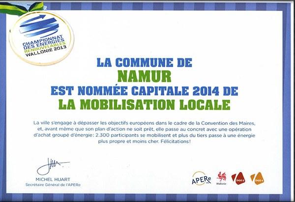 Certificat - Namur capitale 2014 de la mobilisation locale
