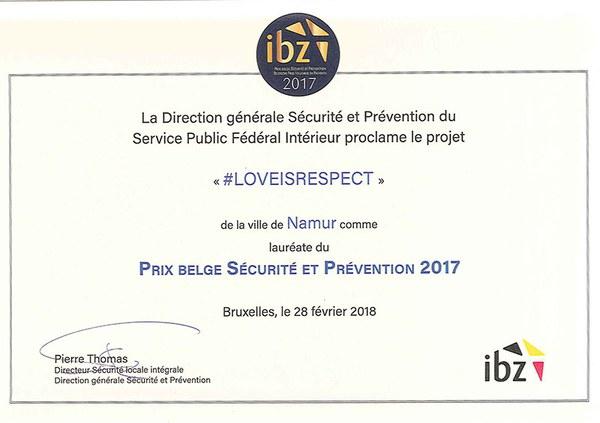 Certificat - Prix belge Sécurité et Prévention
