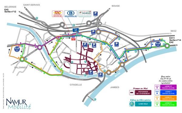 carte mobilité Namur en mai 2018